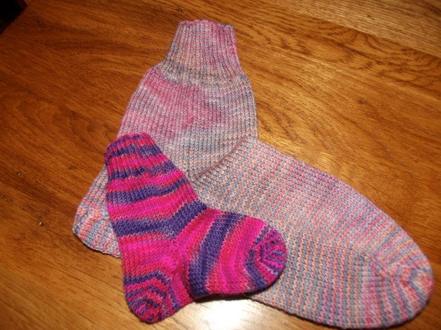 My first two attempts at the after-thought-heel sock pattern!