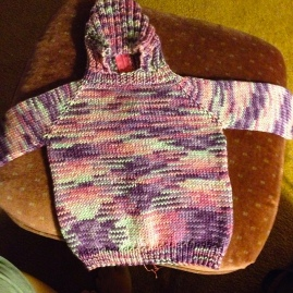 Hooded Baby Sweater with Back Zipper